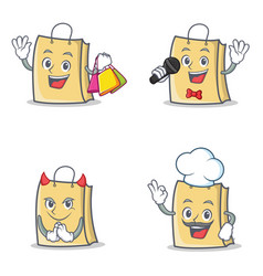 set of bag character with shopping karaoke devil vector image