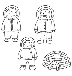 set of eskimo vector image