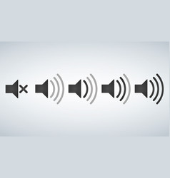 set of sound icons design flat style volume levels vector image