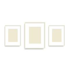 set of yellow photo frames on the wall vector image