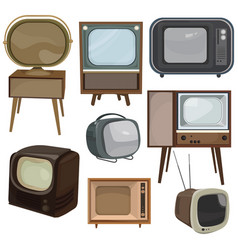 set retro tvs collection cartoon old tvs vector image