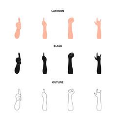 Sign language cartoonblackoutline icons in set vector