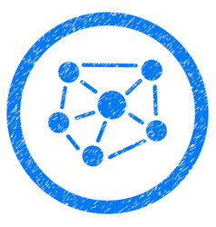 Social graph rounded grainy icon vector