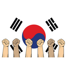 south korea protest fight against a war vector image vector image