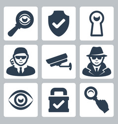 Spy and security icons set magnifying glass vector