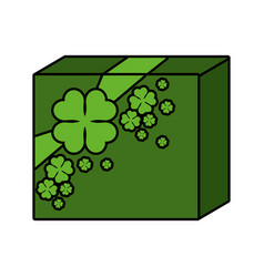 st patricks day gift with clovers vector image