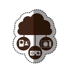 Sticker brown cloud in cumulus shape connected to vector