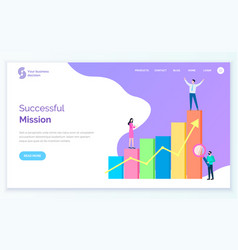 successful mission website with people charts vector image