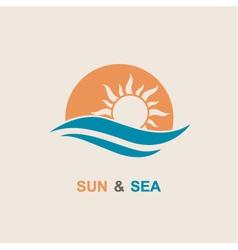 Sun and sea icon vector