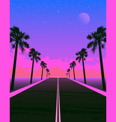 Synthwave poster with dream road and palms pink vector