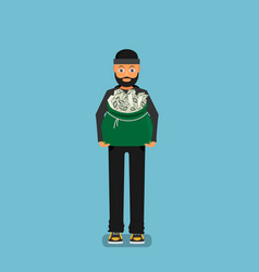 thief carries a bag of money flat design vector image