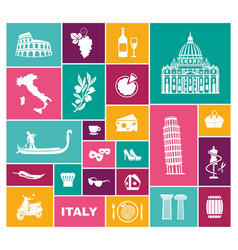 traditional symbols of italy flat icons vector image