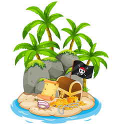 Treasure on island beach scene vector