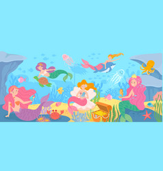 underwater with mermaids seabed with mythical vector image