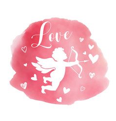 valentine background with silhouette of cupid vector image
