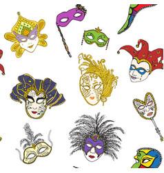 Venice italy carnival masks seamless pattern hand vector