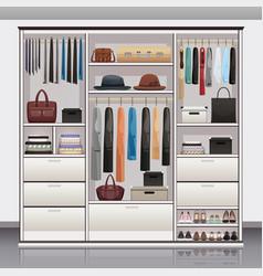 Wardrobe storage interior realistic vector