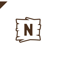 wooden alphabet or font blocks with letter n in vector image