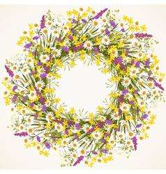 Wreath of wild flower vector image