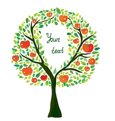 Apple tree with frame vector image vector image