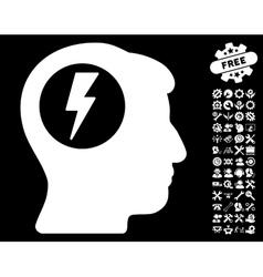 Brain electric shock icon with tools bonus vector