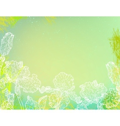 Card with iris flowers on green watercolour vector
