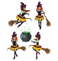 Dark Witch with Broom6 vector image vector image