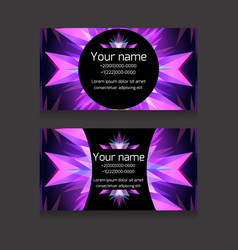 double-sided neon business card templat vector image vector image