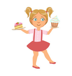 little girl carring a piece of cake and a capcake vector image vector image