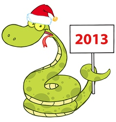 Snake With Santa Hat Holding Up A Blank Sign vector image vector image