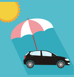 umbrella protecting car against sun flat style vector image vector image