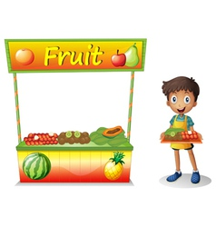 A young boy selling fruits vector image vector image