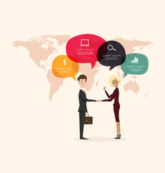 businessman handshake with world map background vector image