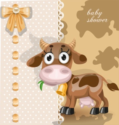Delicate baby shower card with cute baby cow vector image vector image