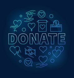 donate blue round bright vector image