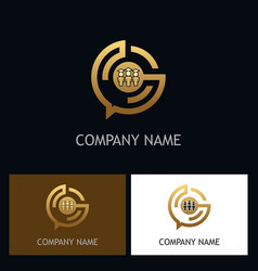 education student technology gold logo vector image vector image