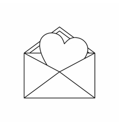 Open envelope with heart icon outline style vector image
