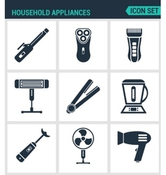 Set modern icons Household Appliances hair vector image vector image