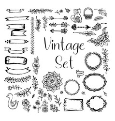 set vintage vector image