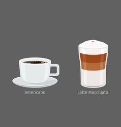 americano and latte macchiato coffee vector image