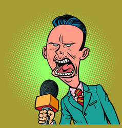 angry skeptical reporter correspondent journalist vector image vector image