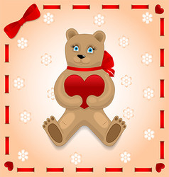 Bear with heart on the background vector image