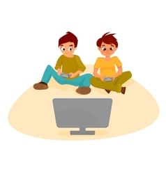 boys playing video games vector image