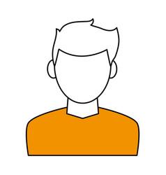 color contour cartoon faceless half body man with vector image vector image