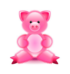 Cute pink pig soft toy isolated on white vector