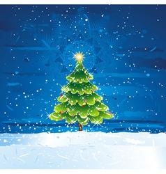 green christmas tree in dark night vector image vector image