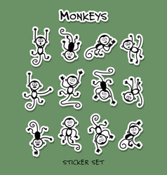 monkeys sticker set for your design vector image
