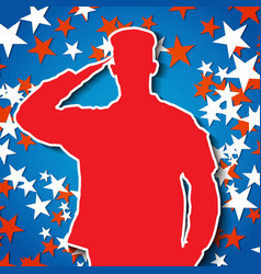 Saluting soldier silhouette on starry background vector image vector image