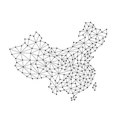 china map of polygonal mosaic lines network rays vector image vector image