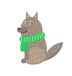 closeup of wolf wearing scarf vector image